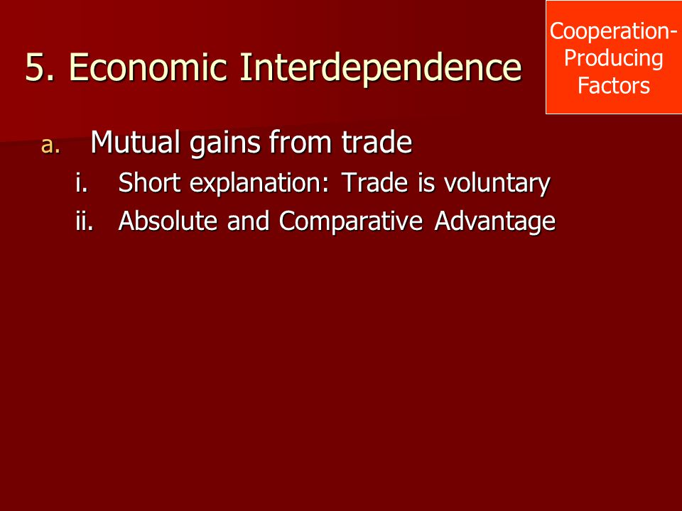 5. Economic Interdependence a. Mutual gains from trade i.Short explanation: Trade is voluntary ii.Absolute and Comparative Advantage Cooperation- Prod