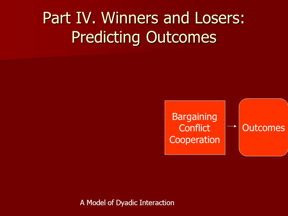 Part IV. Winners and Losers: Predicting Outcomes Bargaining Conflict Cooperation Outcomes A Model of Dyadic Interaction