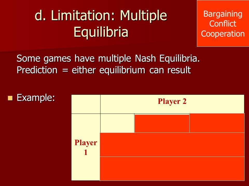 Player 2 Player 1 Strategy AStrategy B Strategy A 2,53,4 Strategy B 0,44,5 d. Limitation: Multiple Equilibria Some games have multiple Nash Equilibria