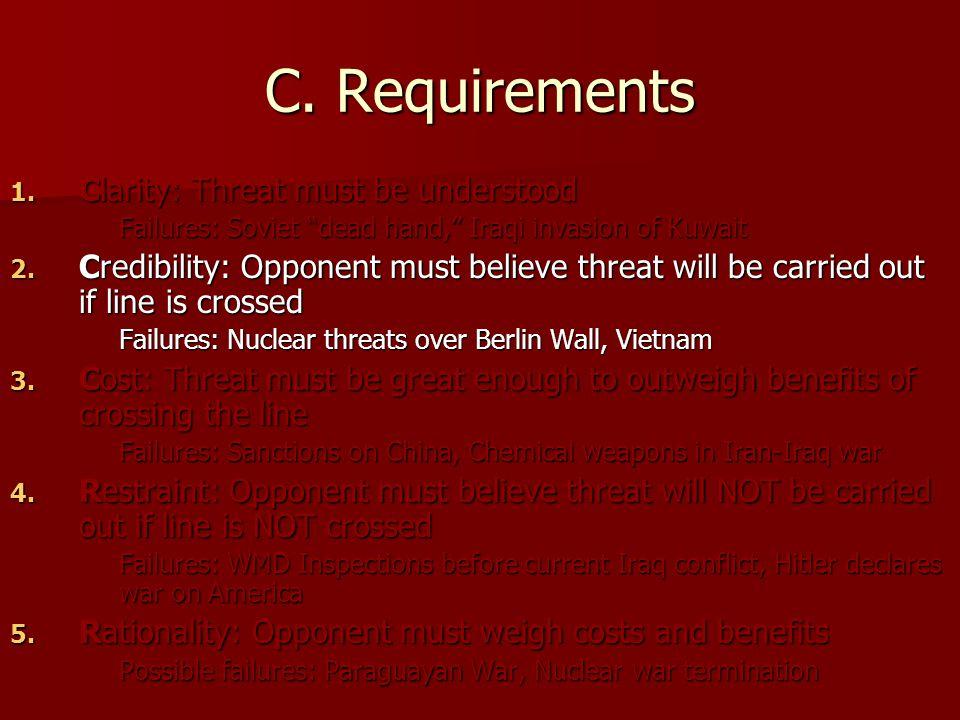 "C. Requirements 1. Clarity: Threat must be understood Failures: Soviet ""dead hand,"" Iraqi invasion of Kuwait 2. Credibility: Opponent must believe thr"