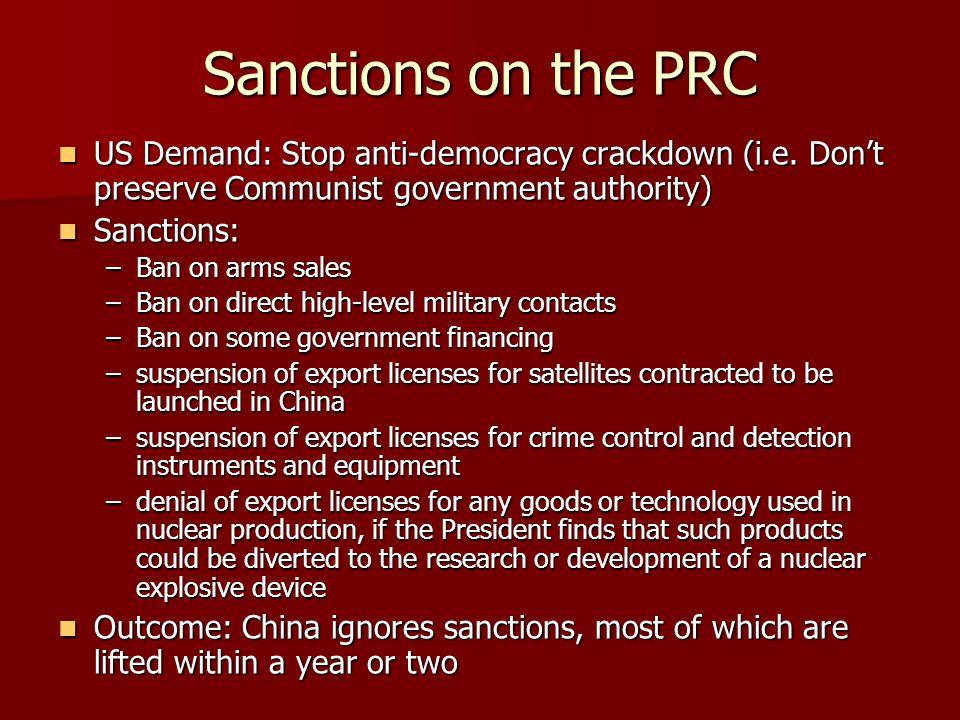 Sanctions on the PRC US Demand: Stop anti-democracy crackdown (i.e. Don't preserve Communist government authority) US Demand: Stop anti-democracy crac