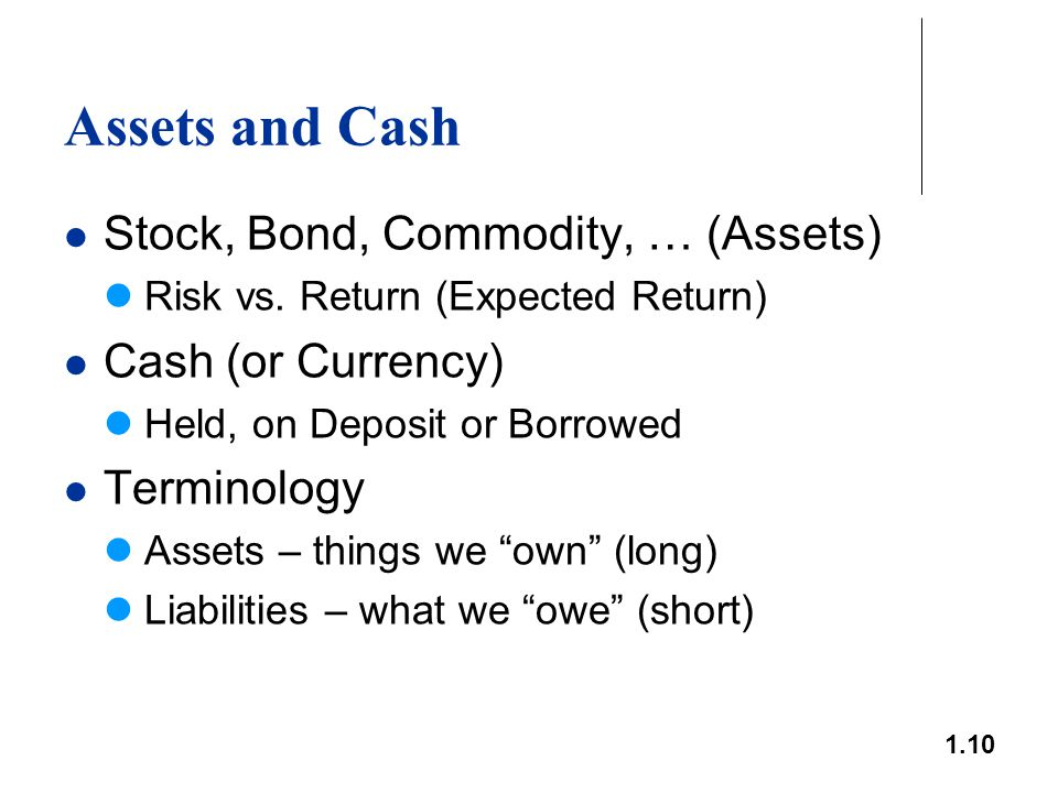 1.10 Assets and Cash Stock, Bond, Commodity, … (Assets) Risk vs. Return (Expected Return) Cash (or Currency) Held, on Deposit or Borrowed Terminology