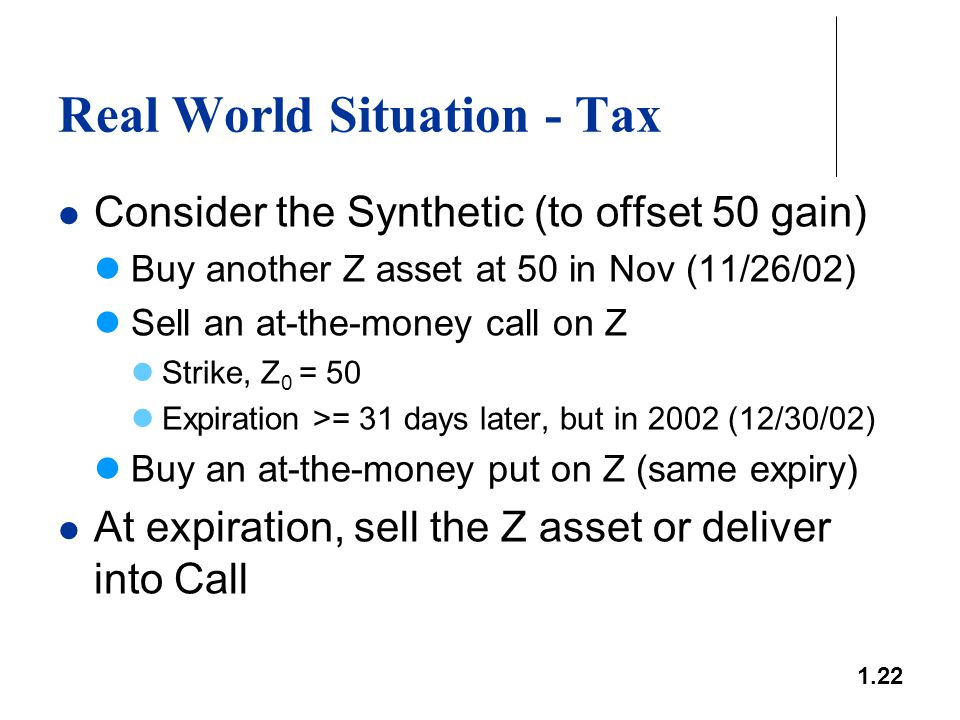 1.22 Real World Situation - Tax Consider the Synthetic (to offset 50 gain) Buy another Z asset at 50 in Nov (11/26/02) Sell an at-the-money call on Z