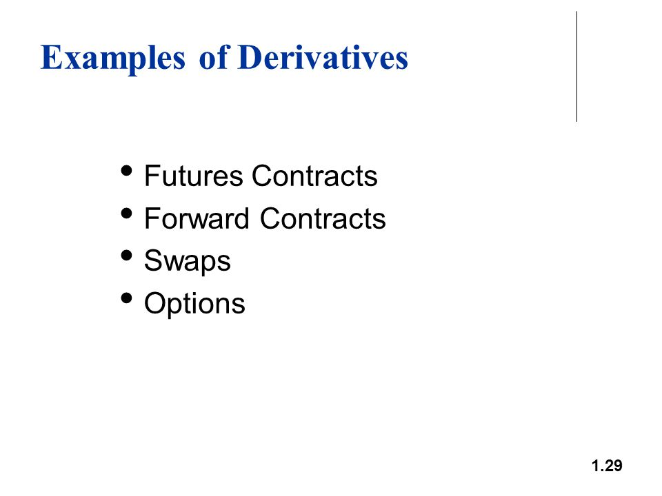 1.29 Examples of Derivatives Futures Contracts Forward Contracts Swaps Options