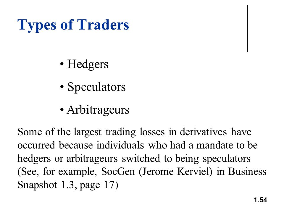 1.54 Types of Traders Hedgers Speculators Arbitrageurs Some of the largest trading losses in derivatives have occurred because individuals who had a m