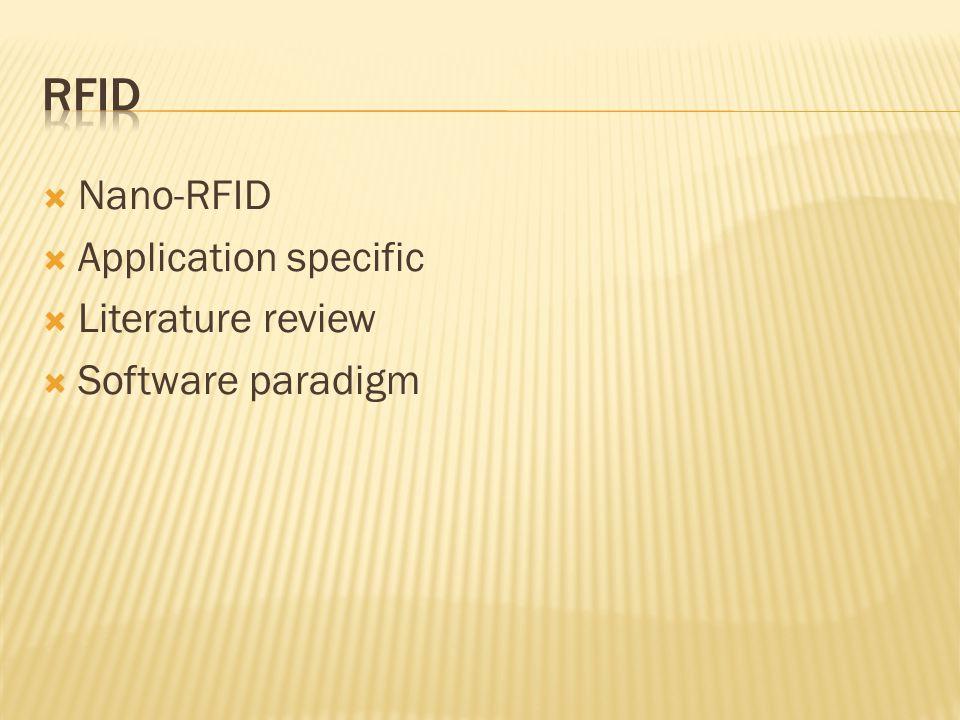  Nano-RFID  Application specific  Literature review  Software paradigm