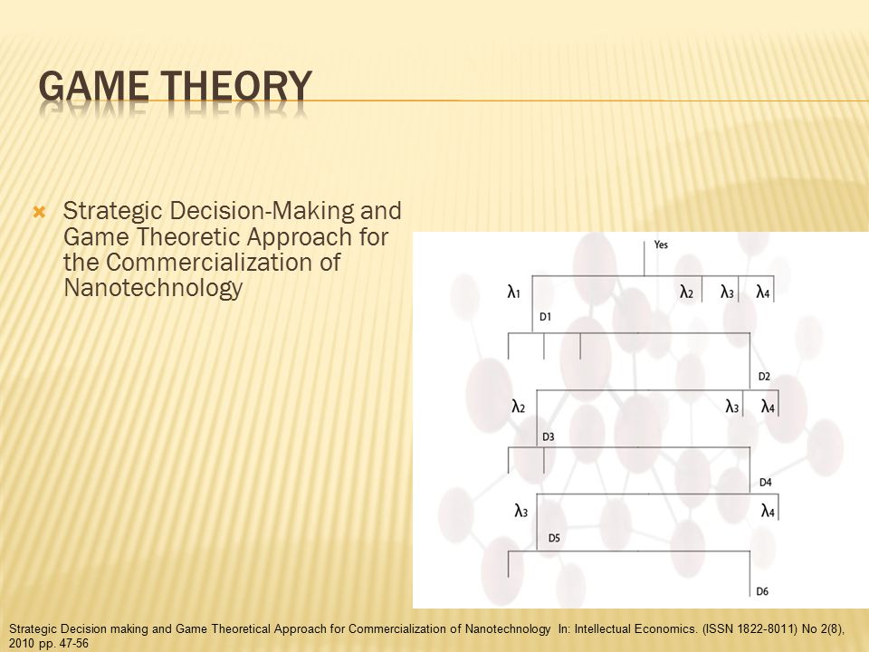  Strategic Decision-Making and Game Theoretic Approach for the Commercialization of Nanotechnology Strategic Decision making and Game Theoretical Approach for Commercialization of Nanotechnology In: Intellectual Economics.