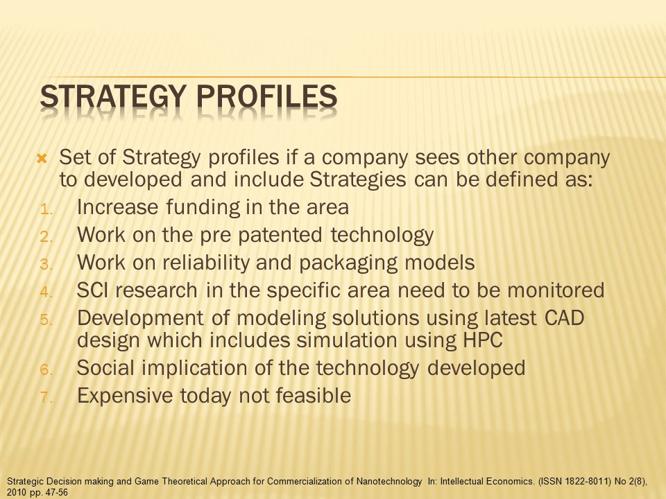  Set of Strategy profiles if a company sees other company to developed and include Strategies can be defined as: 1.