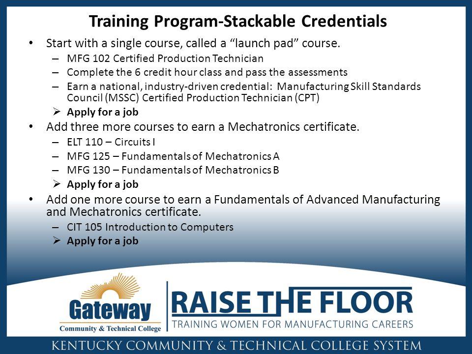 Training Program-Stackable Credentials Start with a single course, called a launch pad course.