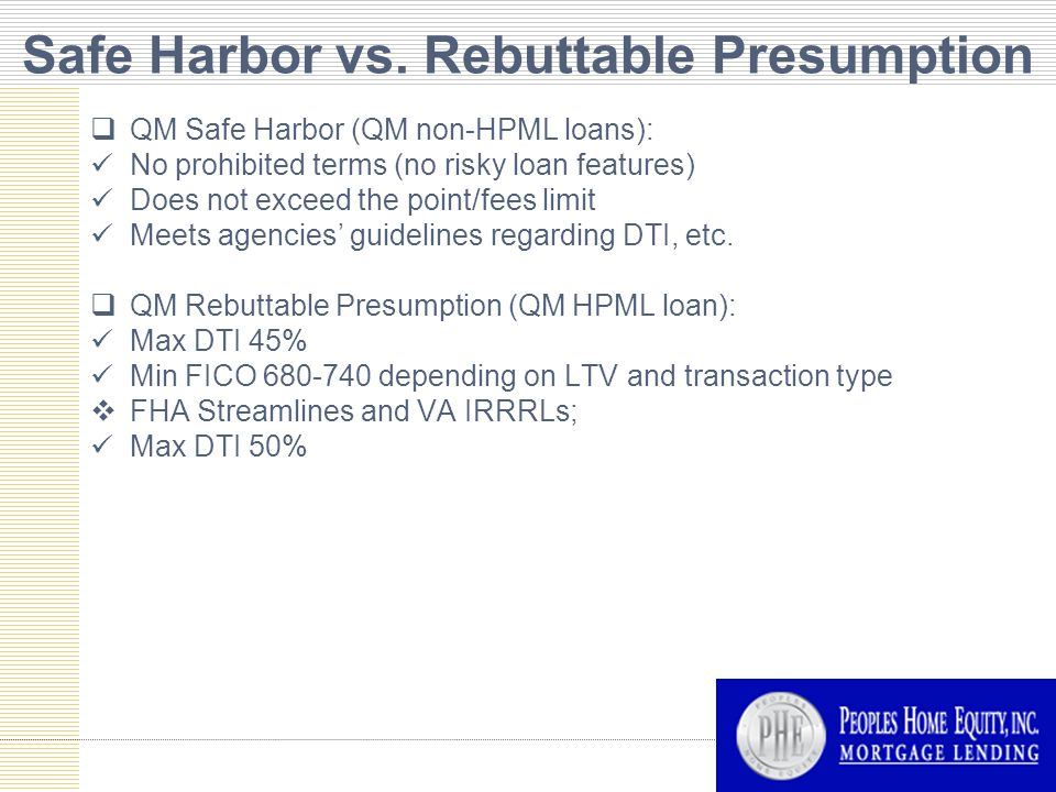 Safe Harbor vs.