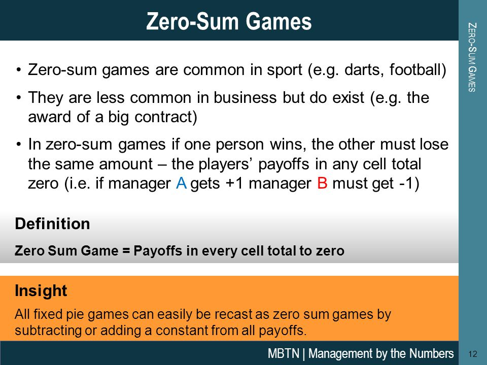 Zero-sum games are common in sport (e.g. darts, football) They are less common in business but do exist (e.g. the award of a big contract) In zero-sum