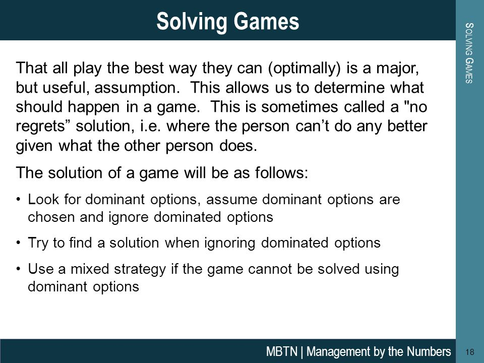 That all play the best way they can (optimally) is a major, but useful, assumption.