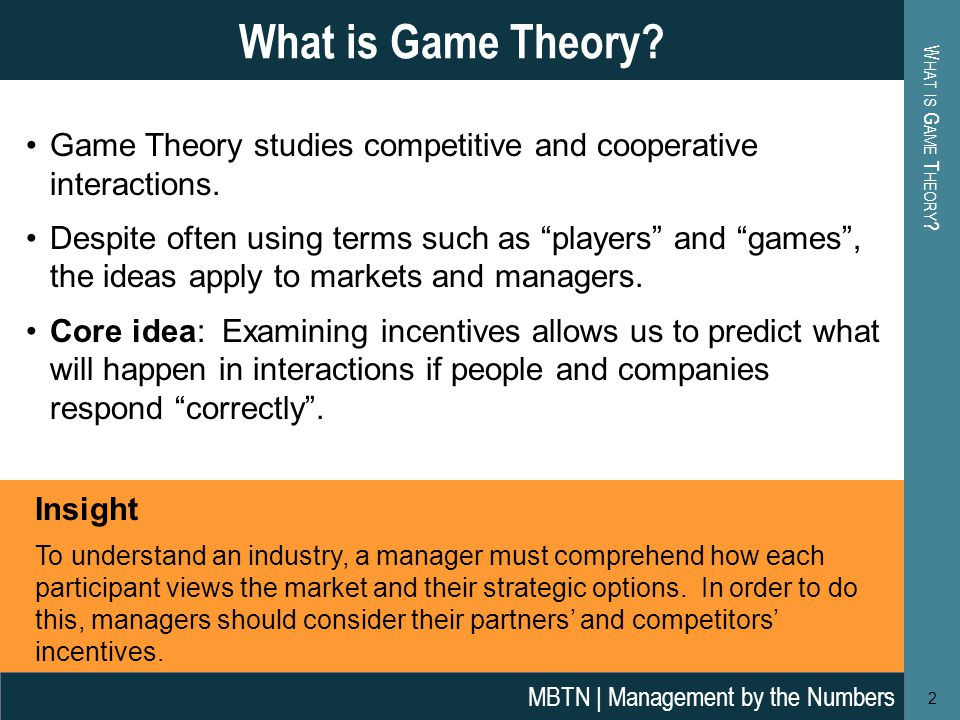 Game Theory studies competitive and cooperative interactions.
