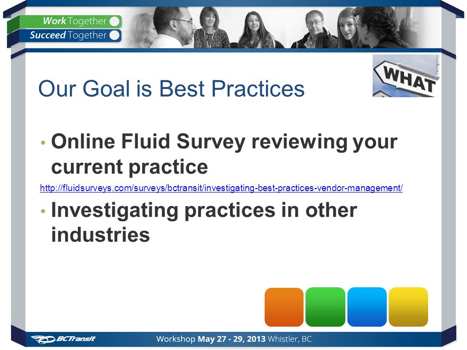 Our Goal is Best Practices Online Fluid Survey reviewing your current practice http://fluidsurveys.com/surveys/bctransit/investigating-best-practices-vendor-management/ Investigating practices in other industries