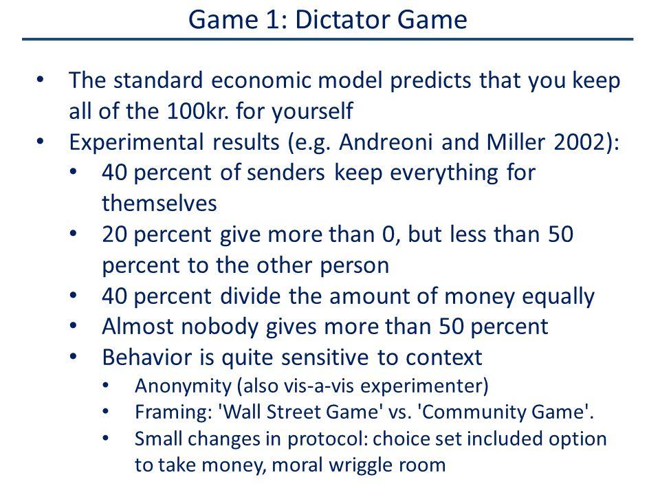 Game 2: Ultimatum Game Split of 100kr.If the receiver rejects sender's offer, both get 0kr.