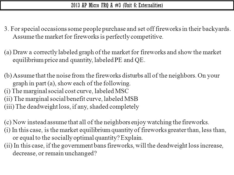 3. For special occasions some people purchase and set off fireworks in their backyards. Assume the market for fireworks is perfectly competitive. (a)