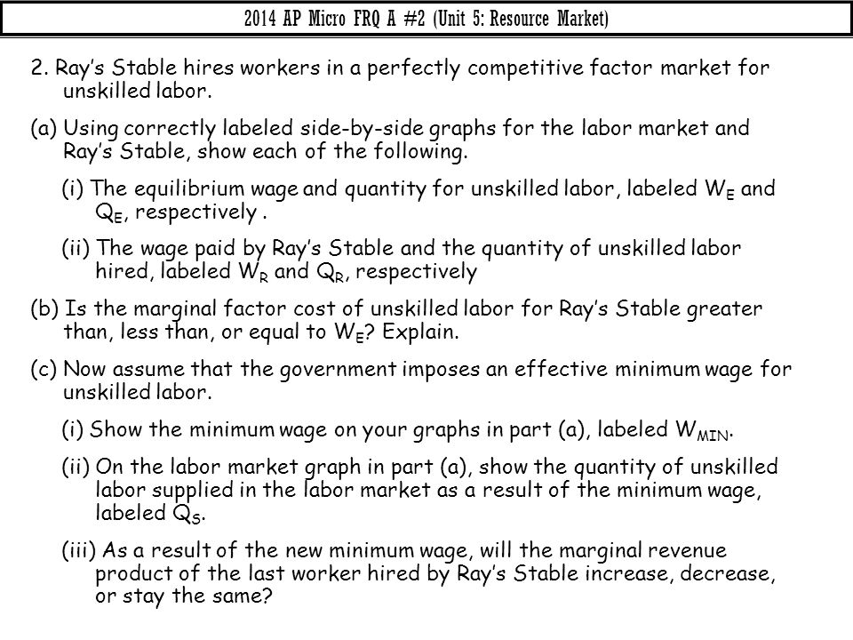 2. Ray's Stable hires workers in a perfectly competitive factor market for unskilled labor. (a) Using correctly labeled side-by-side graphs for the la