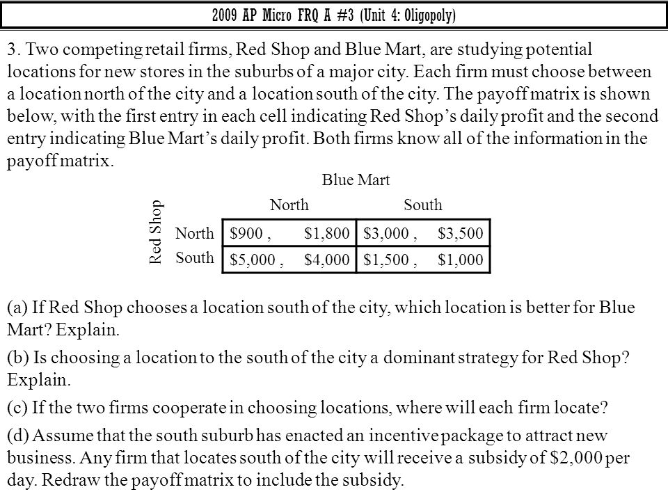 2009 AP Micro FRQ A #3 (Unit 4: Oligopoly) 3. Two competing retail firms, Red Shop and Blue Mart, are studying potential locations for new stores in t