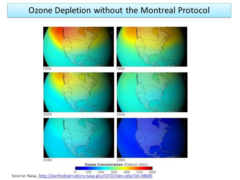 Source: Nasa, http://earthobservatory.nasa.gov/IOTD/view.php id=38685http://earthobservatory.nasa.gov/IOTD/view.php id=38685 Ozone Depletion without the Montreal Protocol