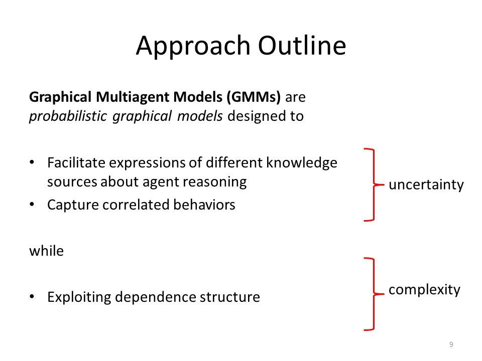 Approach Outline Graphical Multiagent Models (GMMs) are probabilistic graphical models designed to Facilitate expressions of different knowledge sources about agent reasoning Capture correlated behaviors while Exploiting dependence structure 9 uncertainty complexity