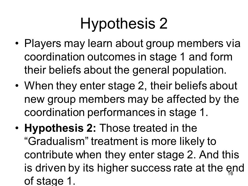 Hypothesis 2 Players may learn about group members via coordination outcomes in stage 1 and form their beliefs about the general population.