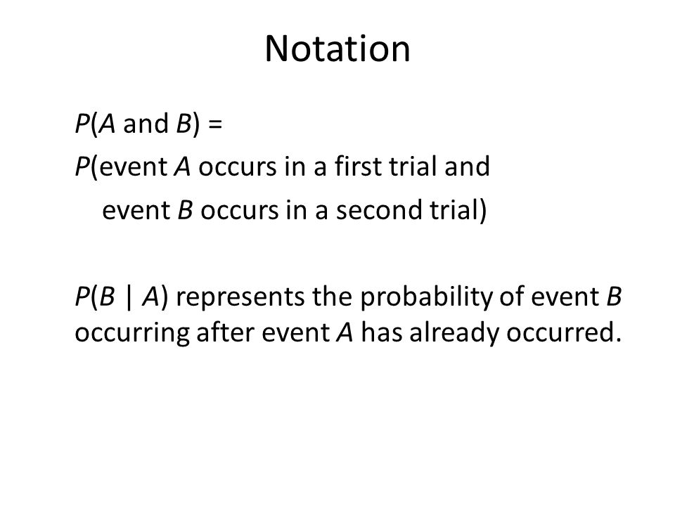 Notation P(A and B) = P(event A occurs in a first trial and event B occurs in a second trial) P(B | A) represents the probability of event B occurring after event A has already occurred.