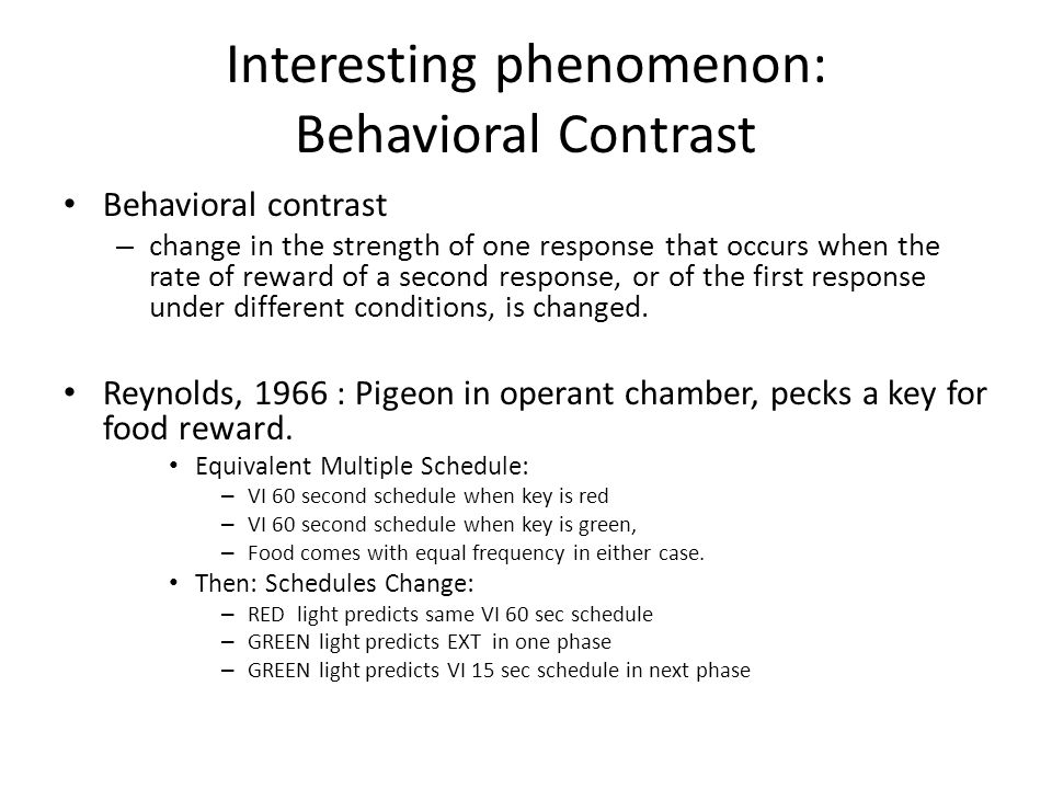 Interesting phenomenon: Behavioral Contrast Behavioral contrast – change in the strength of one response that occurs when the rate of reward of a second response, or of the first response under different conditions, is changed.