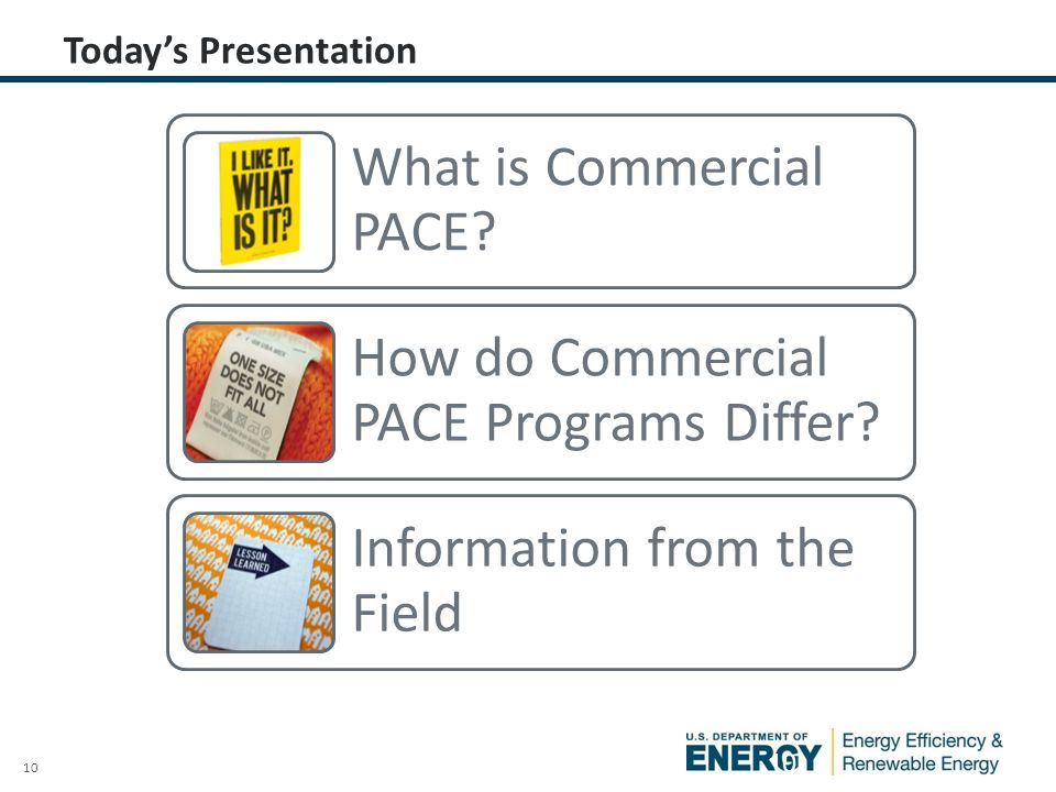 10 Today's Presentation 10 What is Commercial PACE.