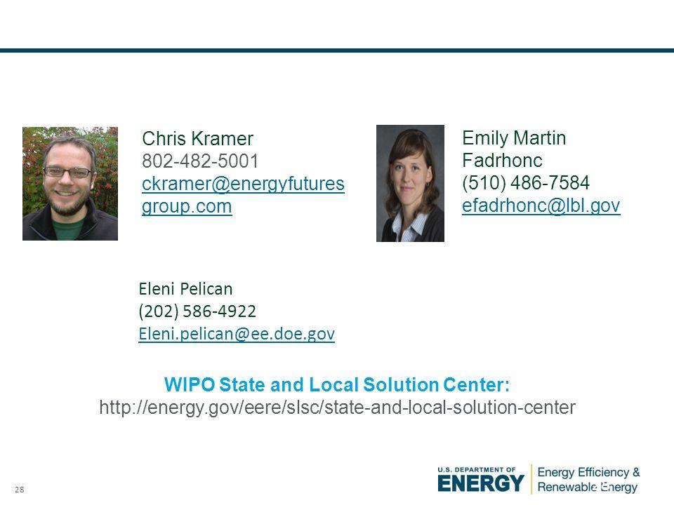 28 WIPO State and Local Solution Center: http://energy.gov/eere/slsc/state-and-local-solution-center Emily Martin Fadrhonc (510) 486-7584 efadrhonc@lbl.gov Eleni Pelican (202) 586-4922 Eleni.pelican@ee.doe.gov Chris Kramer 802-482-5001 ckramer@energyfutures group.com