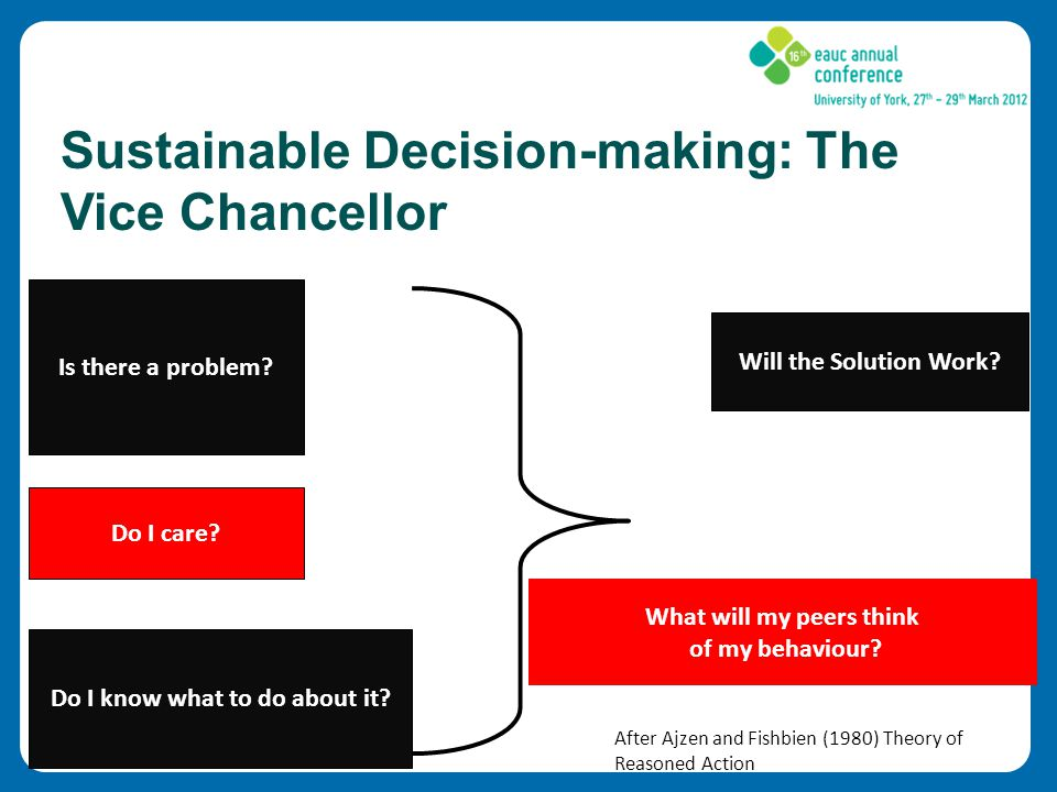 Sustainable Decision-making: The Vice Chancellor Is there a problem.