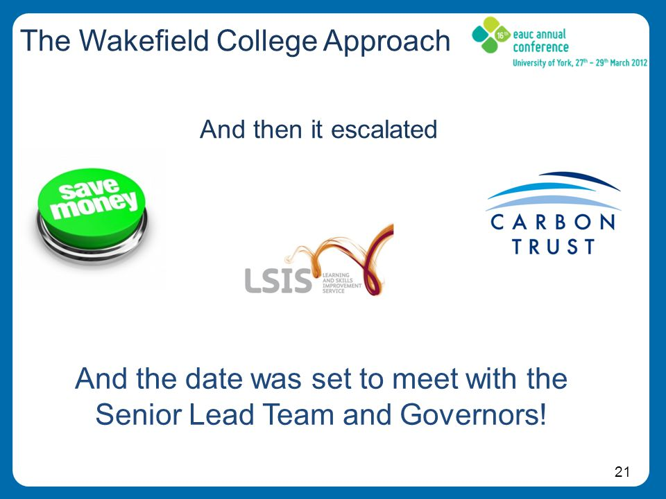 21 The Wakefield College Approach And then it escalated And the date was set to meet with the Senior Lead Team and Governors!