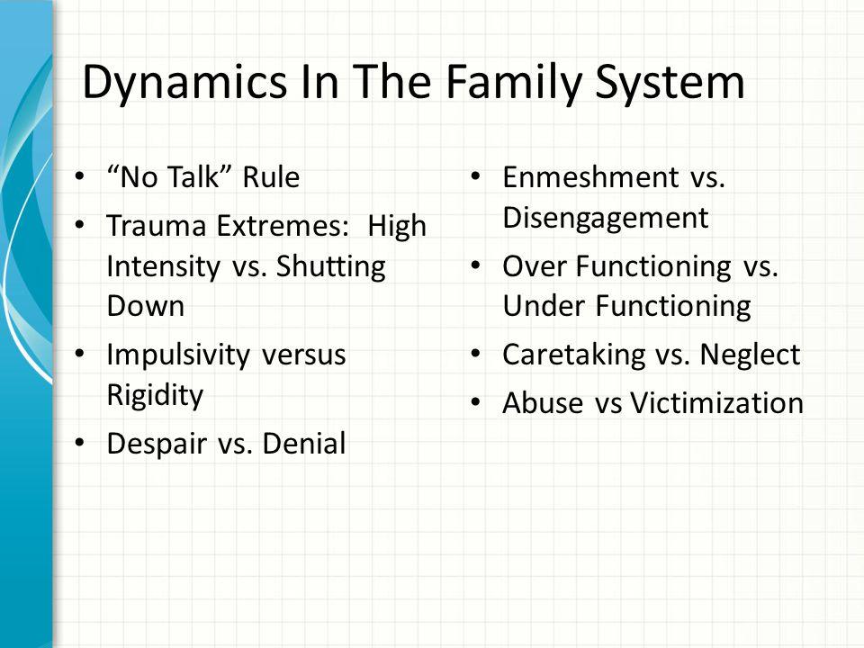 "Dynamics In The Family System ""No Talk"" Rule Trauma Extremes: High Intensity vs. Shutting Down Impulsivity versus Rigidity Despair vs. Denial Enmeshme"