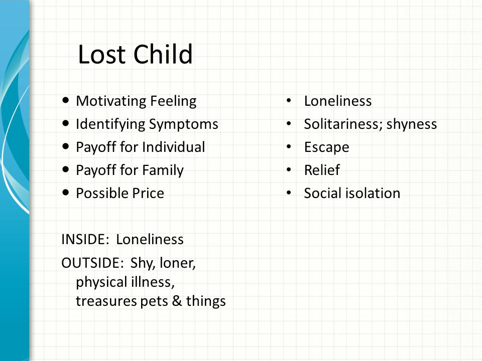 Lost Child Motivating Feeling Identifying Symptoms Payoff for Individual Payoff for Family Possible Price INSIDE: Loneliness OUTSIDE: Shy, loner, phys