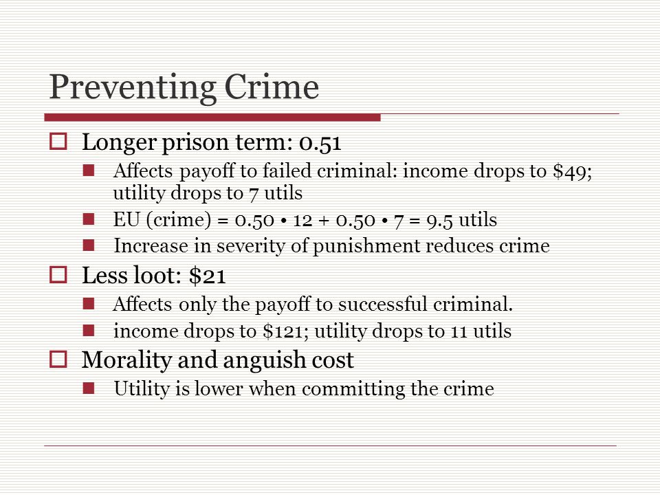 Preventing Crime  Longer prison term: 0.51 Affects payoff to failed criminal: income drops to $49; utility drops to 7 utils EU (crime) = 0.50 12 + 0.50 7 = 9.5 utils Increase in severity of punishment reduces crime  Less loot: $21 Affects only the payoff to successful criminal.