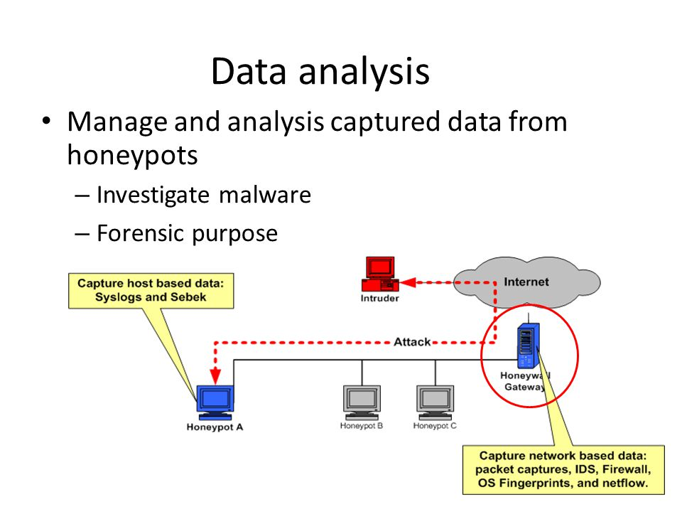 Data analysis Manage and analysis captured data from honeypots – Investigate malware – Forensic purpose