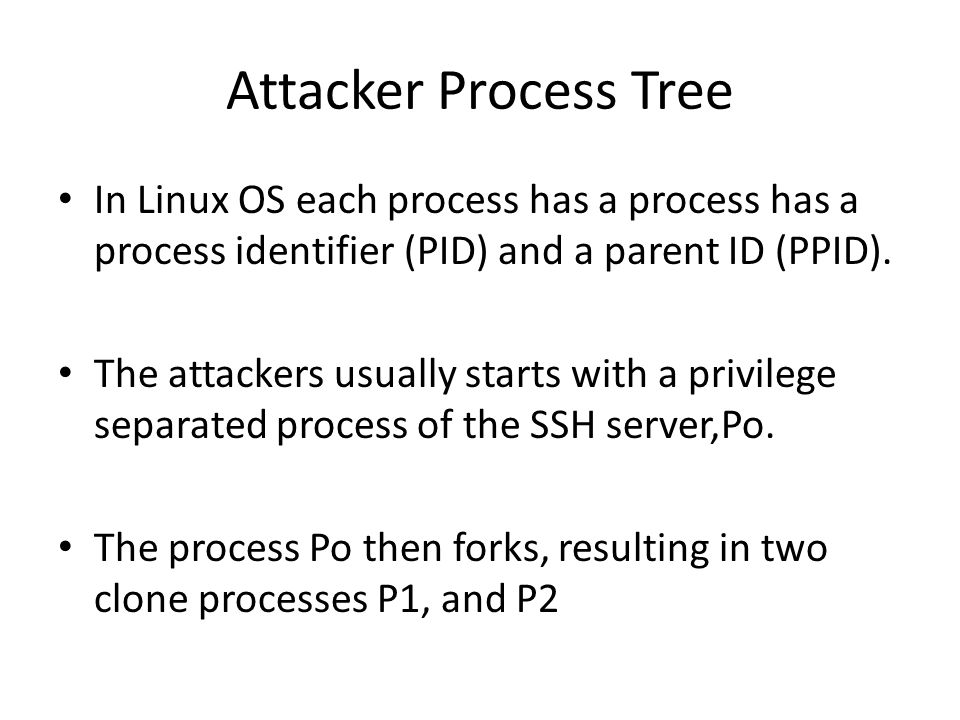 Attacker Process Tree In Linux OS each process has a process has a process identifier (PID) and a parent ID (PPID).