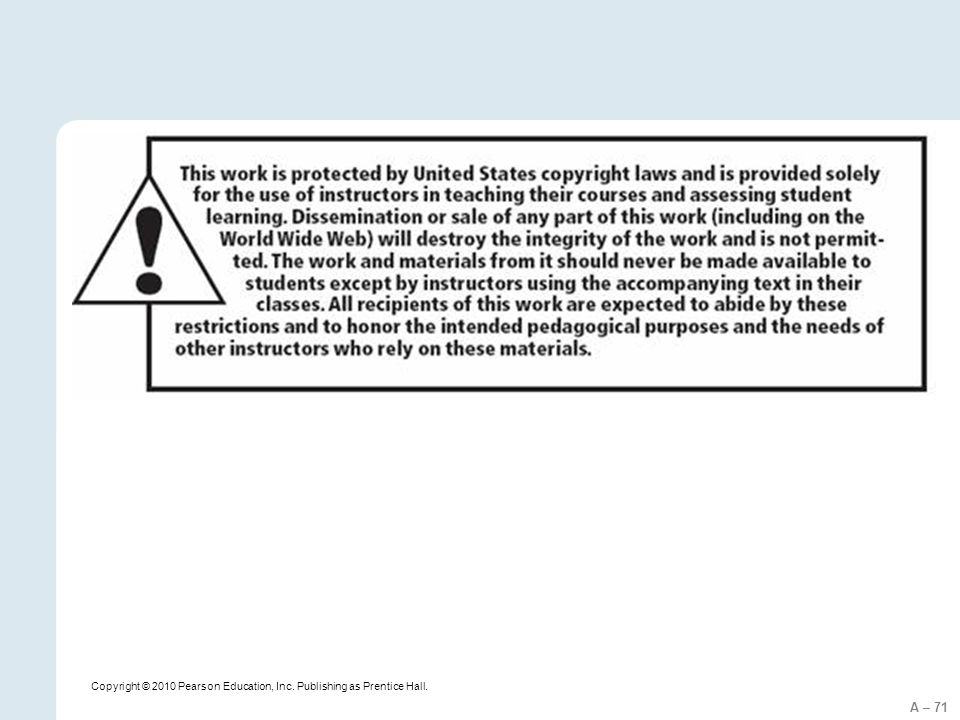 A – 71 Copyright © 2010 Pearson Education, Inc. Publishing as Prentice Hall.
