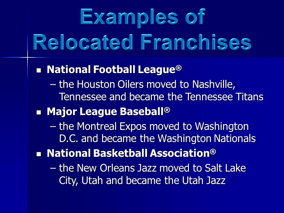 National Football League ® National Football League ® –the Houston Oilers moved to Nashville, Tennessee and became the Tennessee Titans Major League Baseball ® Major League Baseball ® –the Montreal Expos moved to Washington D.C.