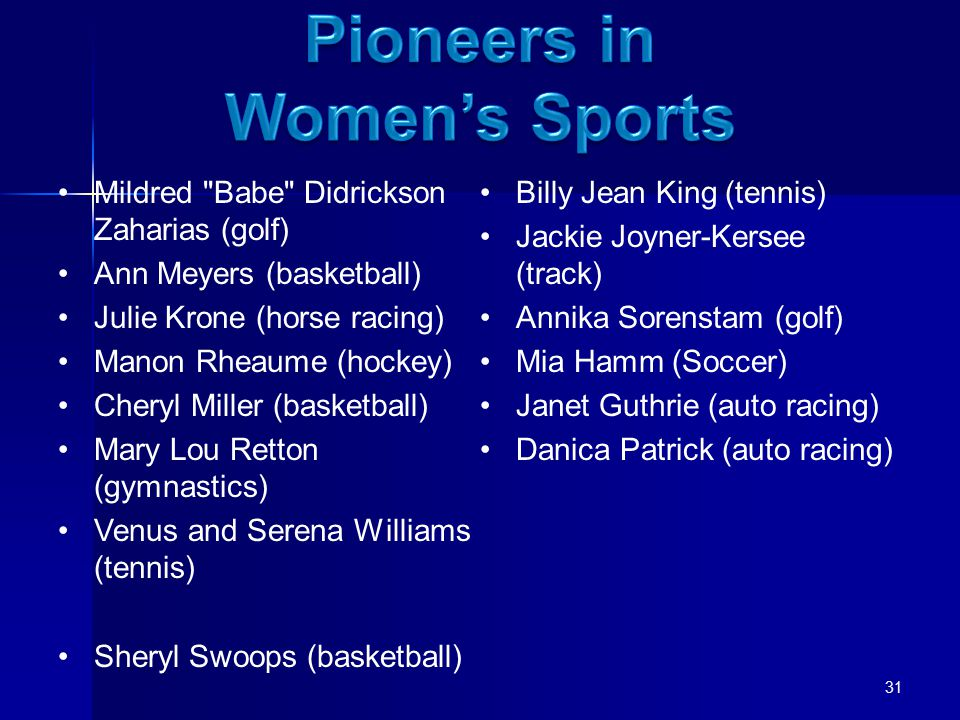 Mildred Babe Didrickson Zaharias (golf) Ann Meyers (basketball) Julie Krone (horse racing) Manon Rheaume (hockey) Cheryl Miller (basketball) Mary Lou Retton (gymnastics) Venus and Serena Williams (tennis) Sheryl Swoops (basketball) Billy Jean King (tennis) Jackie Joyner-Kersee (track) Annika Sorenstam (golf) Mia Hamm (Soccer) Janet Guthrie (auto racing) Danica Patrick (auto racing) 31
