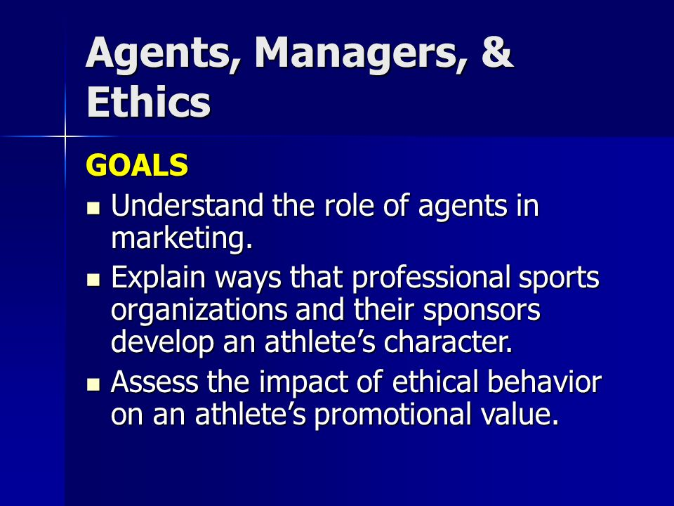 GOALS Understand the role of agents in marketing. Understand the role of agents in marketing.