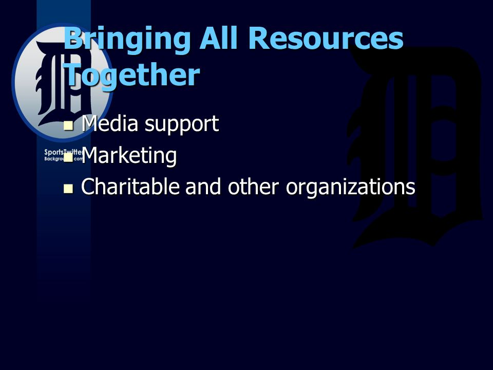 Bringing All Resources Together Media support Media support Marketing Marketing Charitable and other organizations Charitable and other organizations