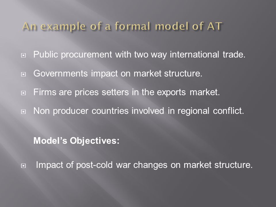 Public procurement with two way international trade.