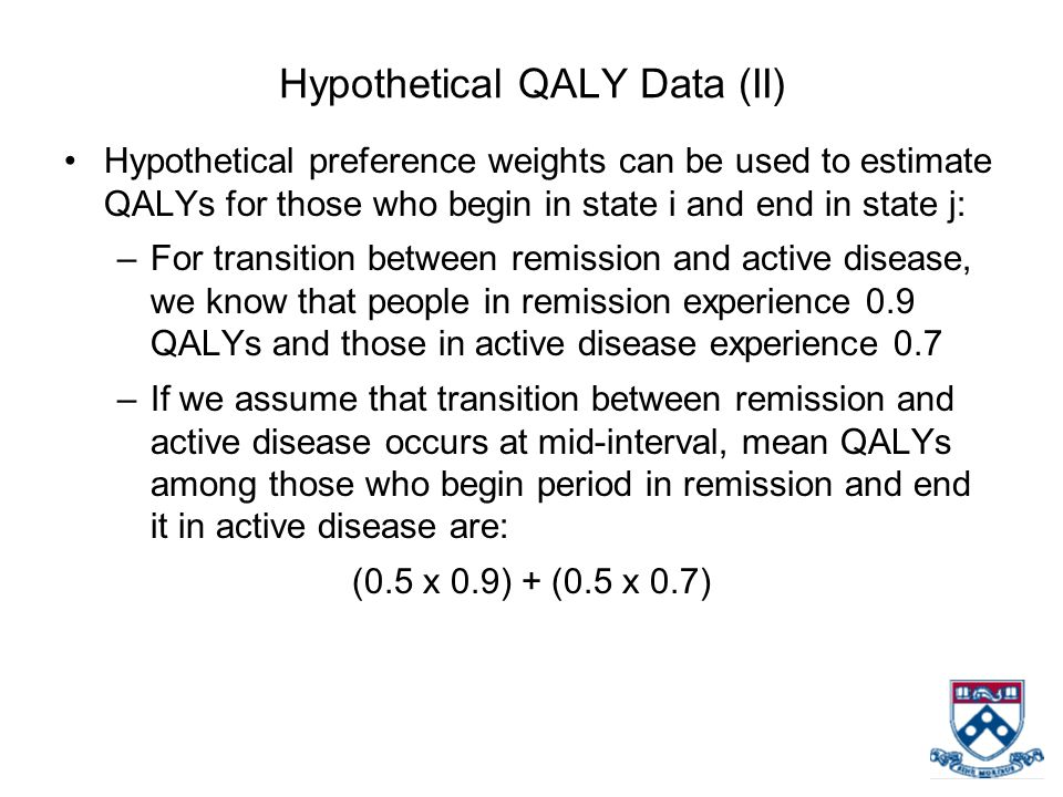 Hypothetical QALY Data (II) Hypothetical preference weights can be used to estimate QALYs for those who begin in state i and end in state j: –For transition between remission and active disease, we know that people in remission experience 0.9 QALYs and those in active disease experience 0.7 –If we assume that transition between remission and active disease occurs at mid-interval, mean QALYs among those who begin period in remission and end it in active disease are: (0.5 x 0.9) + (0.5 x 0.7)