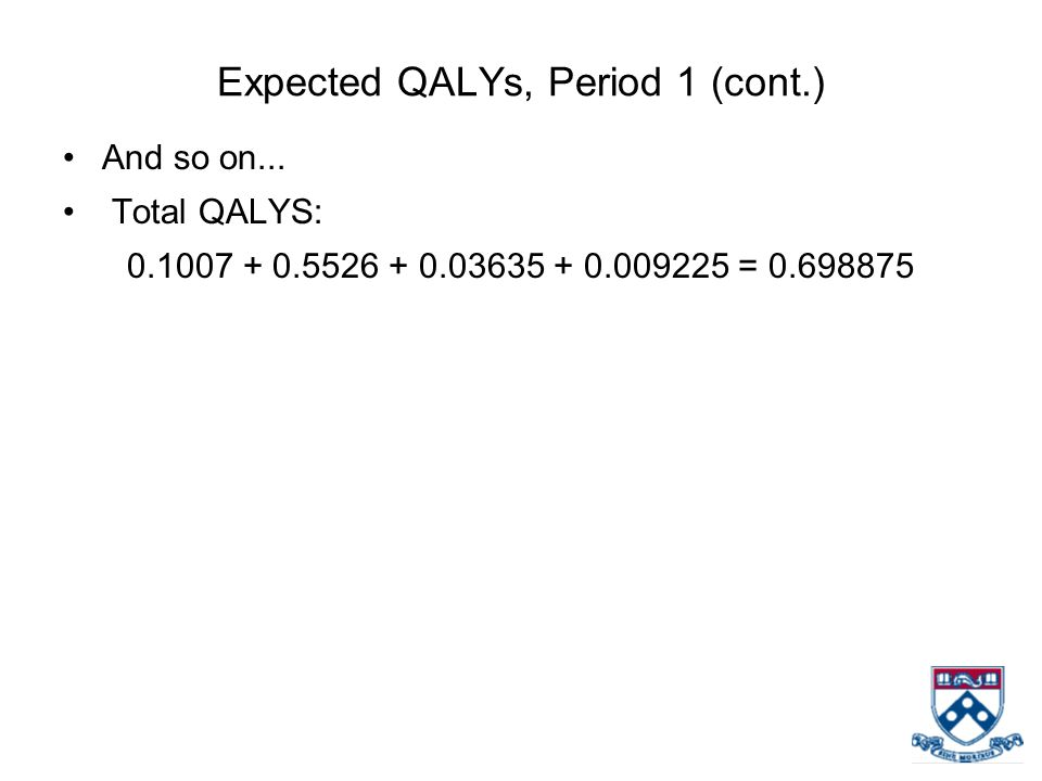 Expected QALYs, Period 1 (cont.) And so on...