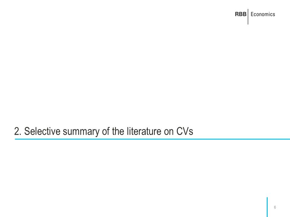 6 2. Selective summary of the literature on CVs