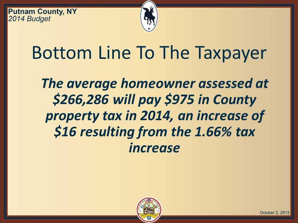 Bottom Line To The Taxpayer The average homeowner assessed at $266,286 will pay $975 in County property tax in 2014, an increase of $16 resulting from the 1.66% tax increase