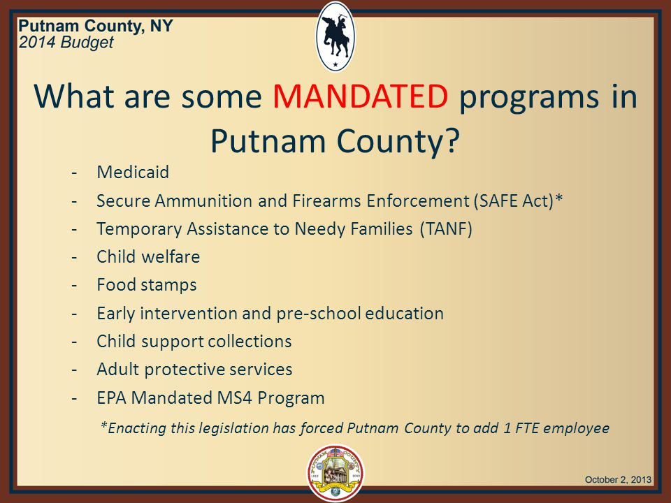 What are some MANDATED programs in Putnam County.