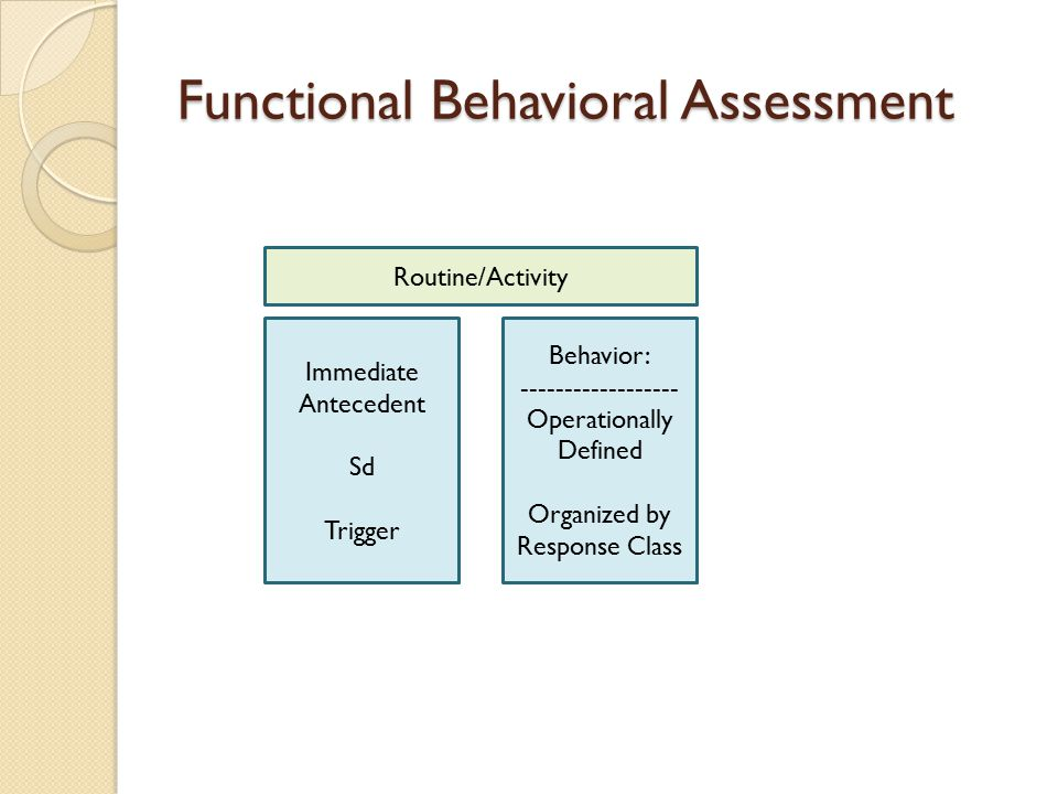 Functional Behavioral Assessment Behavior: ------------------ Operationally Defined Organized by Response Class Immediate Antecedent Sd Trigger Routin