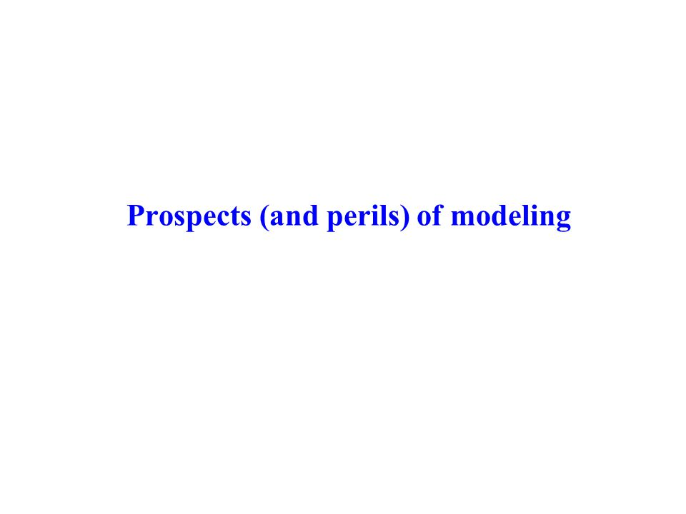 Prospects (and perils) of modeling