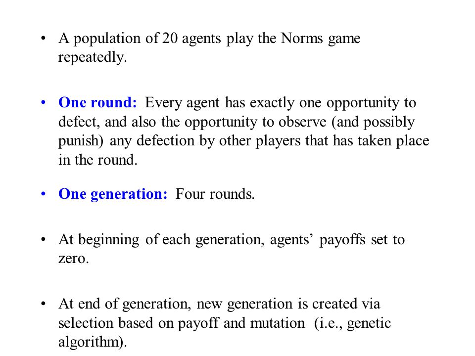 A population of 20 agents play the Norms game repeatedly.